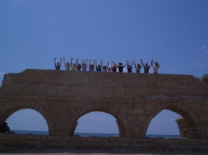 Caesarea Maritima aquaduct with group resized